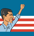 cartoon portrait of beto orourke vector image vector image