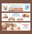 collection cartoon wooden toy banner flat vector image