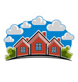 Colorful of country houses created with bric vector image