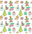 Cute Christmas and New Year seamless patternCat vector image vector image