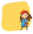 cute girl walking in autumn clothes seasonal vector image vector image