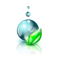 Dark blue water droplet with green leaves vector image