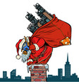 ecology factory pipe dirty air face mask santa vector image vector image