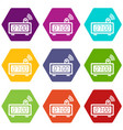 electronic alarm clock icons set 9 vector image vector image