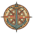 emblem with ship anchor wind rose and old compass vector image vector image