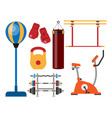 fitness gym club athlet sport activity body tools vector image vector image