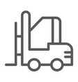 forklift line icon warehouse and shipping vector image