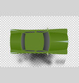 green classic car from top view vector image vector image