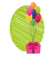 greeting card with gift box and balloons vector image vector image
