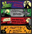 Halloween banners in different colors