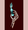 halloween skeleton hand holding a magic poison vector image vector image
