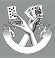 hands with playing cards and ribbon banner vector image vector image