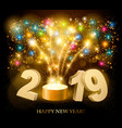happy new year background with 2019 and fireworks vector image vector image