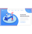 human resources landing page isometric template vector image vector image