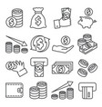 money line icons set on white background vector image vector image