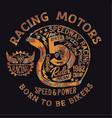 motorcycle vintage racing team helmet vector image vector image
