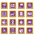 navigation icons set purple vector image