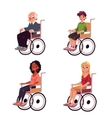 People in wheelchairs - old man women teenage vector image