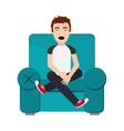 person sleeping on sofa icon vector image