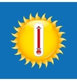 red thermometer icon sunny weather meteorology vector image