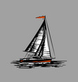 sailing boat on a grey background vector image
