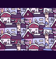 seamless pattern with winter doodle houses for vector image