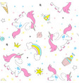 seamless unicorn pattern for kids textile vector image vector image