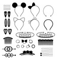 set black icons hair accessories vector image vector image