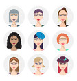 set various women faces avatars vector image