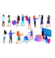 shopping people set isolated on white background vector image