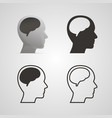 silhouette head with the brain set vector image vector image
