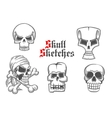 Skeleton skulls sketch icons set vector image vector image