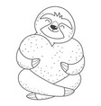 sloth lover holds heart vector image vector image