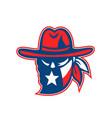 texan outlaw texas flag mascot vector image vector image