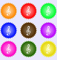 treble clef icon A set of nine different colored vector image