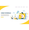 video tutorials website landing page design vector image vector image