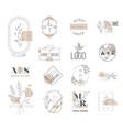wedding monogram minimalistic floral logo flower vector image vector image