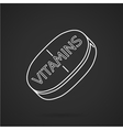 White line icon for vitamins tablet vector image