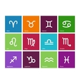 Zodiac icons on color background vector image