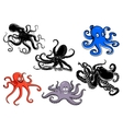 Colorful and black cartoon octopus characters vector image