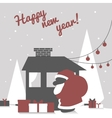 Greeting card with santa claus silhouette and vector image