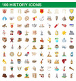100 history icons set cartoon style vector image