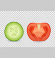3d realistic slice juicy cucumber and vector image