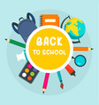 back to school circle background flat style vector image