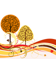 backdrop with swirly trees vector vector image