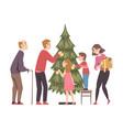 big happy family decorating christmas tree vector image vector image