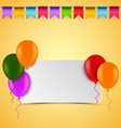 Birthday card with white sign balloons and flags vector image vector image