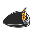 black beret with yellow feather as part of vector image