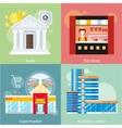 Business center supermarket bank fast food vector image vector image