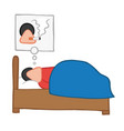 Cartoon man sleeping and smoking cigarette in his
